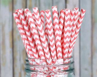 Coral Paper Straws, Coral Chevron Wedding Straws, Drinking Straws, Party Straws, Cocktail Straws, Fancy Straws, Baby Shower (25 ct)