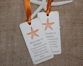 Orange Starfish Beach Wedding Welcome Gift Tags, Beach Wedding Tags, Destination Wedding Tags - set of 50