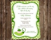 Sweet Pea, Baby Shower, Invitations, Gingham, Green, Plaid, Sweet Pea, Gender Neutral, Country, Chic, 10 Printed Invites, FREE Shipping
