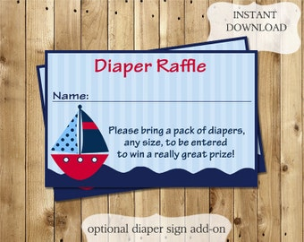 Digital Baby Shower Diaper Raffle Tickets, Baby Boy, Red, Navy, Nautical, Boat, DIY, Printable, Sign Included, PDF, JPEG, Ahoy Nautical Red