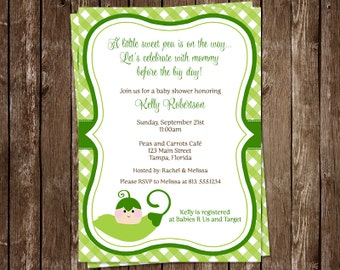 Sweet Pea, Baby Shower, Invitations, Gingham, Green, Plaid, Sweet Pea