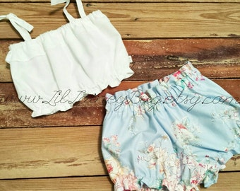 White Crop Top and Blue Floral Shorties - Baby Toddler Girls - High Waist Shorts - Summer, Birthday Pics, Beach - Birthday Gift