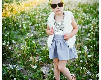 High Waisted Skirt -Solid Gray Skater Skirt -Flat Front Elastic Back - Baby Toddler Girl -Boutique Skirt- Fall Einter -All Year Favorite