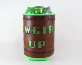 Leather Can Holder Cowgirl Up Ready to Ship Leather Can Cooler Hand Tooled Leather Barbed Wire Hand Stamped Leather Mint Green Beer Holder