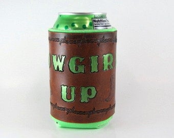 Leather Can Holder Cowgirl Up Ready to Ship Leather Can Cooler Hand Tooled Leather