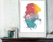 Digital Fine Art Print Teal Yellow Pink Turqoise Abstract Original Screenprint, You Choose the Size
