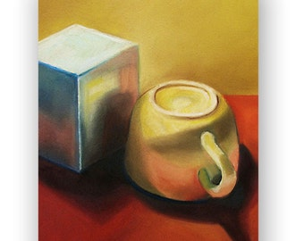 Original Pastel Drawing of Still Objects, Mug and Box, Kitchen Decor, Rives BFK Paper, Perfect for Your Kitchen, 18.5''x15''