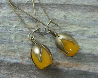 Yellow Jade Dangle Earrings/Natural Stone Earrings/ Yellow Jade and Brass Pod  Earrings/