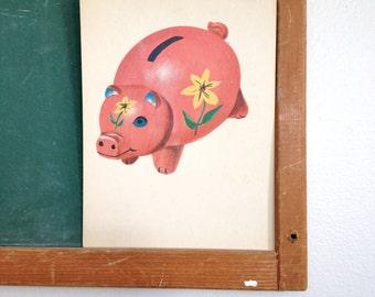 Vintage School Flashcard- Piggy Bank