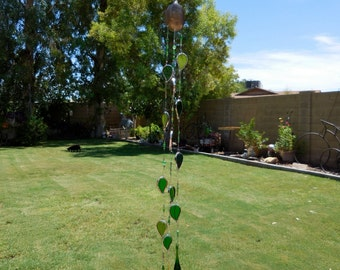 Stained Glass Mobile - Leaves - Prism - Glass Drops - Handmade - Green Glass - Gift - Awesome