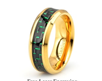 Titanium Ring, Yellow gold plated Titanium Men's Wedding Band, Green Carbon Fiber inlay, Polished Titanium Wedding Band Mens Titanium band