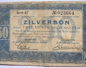 Vintage 1938 NETHERLANDS ZILVERBON silver note BANKNOTE currency money 2.50 Zilverbon Bank Note