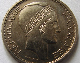FRANCE LIBERTY COIN Vintage over 65 Years Old 1947 Liberty10 Francs Copper Nickel Coin