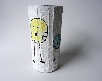 White Vase / small vase / whimsical bird vase / inspired by childrens art / playful vase / child-like