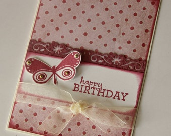 Birthday Card in Coral Pink and Burgundy, Polka Dot and Butterfly Happy Birthday Card, Card for Woman or Girl, (BD1509)