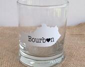 Kentucky State Cutout Bourbon Glass, Kentucky Bourbon Glass, KY Love Bourbon Glass, Love Bourbon Drinkware, Bourbon Glasses, Etsy Bourbon