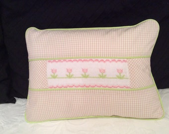 "Girl's decorative hand smocked pillow-12"" X 16"" decorative pillow - pink and green plaid pillow with smocked flowers"