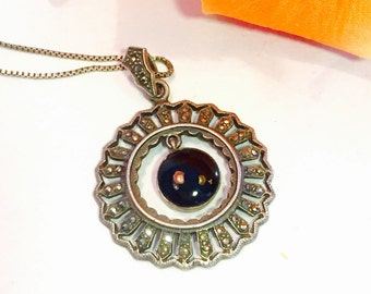 Art Deco Sterling Silver Black Onyx Marcasite Circle Pendant Vintage Necklace Art Deco Jewelry