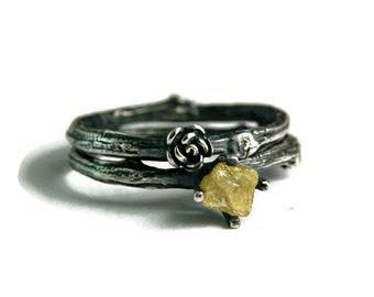 Alternative Womens Engagement Ring, Rough Yellow Diamond Twig Ring, Black Silver Wedding Ring