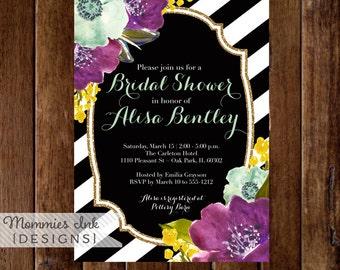 Fall Floral Bouquets Bridal Shower Invitation, Black and White Stripes Shower Invitation, Purple Yellow Aqua Flowers, Printable Invitation