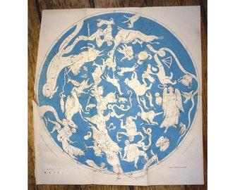 1870 CONSTELLATION MAP rare original antique celestial astronomy star print no. 2
