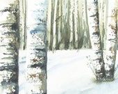 Winter Landscape Original Watercolor for Sale 5 x 7 - Birch Trees