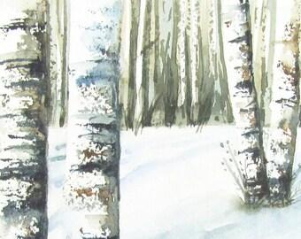 Winter Landscape Original Watercolor for Sale 5 x 7 - Birch Trees