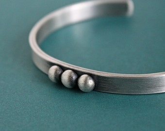 Cuff Bangle Bracelet Oxidized Sterling Silver Men's