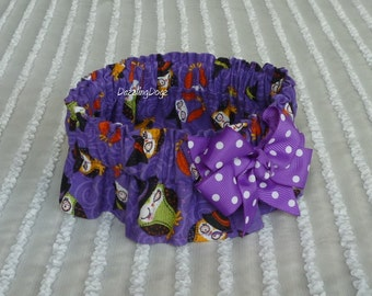 """Halloween Hoots Dog Collar Scrunchie with purple dotted bow - Size S - 12"""" - 14"""" neck - TrY Me PRiCe"""