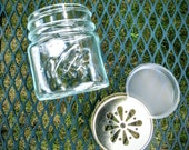 Six - 1Pint Canning Jars with Cut out lids and Liners