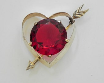Castlecliff Sterling Heart Brooch with Gold Wash. Sweetheart Pin, Heart and Cupid's Arrow, Valentine's Day.