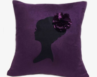 Romantic Cameo Plum And Black Pillow Cover. Feminine Girls Room Decor. Pretty Floral Dark Purple Cushion Cover