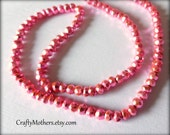 PINK PYRITE Faceted Rondelles, 3.5mm, 1/4 strand, 3-1/4 inches long, sparkling metallic beads