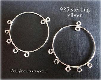 Use TAKE10 for 10% off! 1 PAIR Bali Hoop Chandelier Findings, Sterling Silver (2 pieces), 39mm x 32mm, earrings, bridal