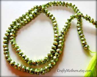 "27% SALE! (Code: 27OFF20) LIME Green Metallic Pyrite Faceted Rondelles, 3.5mm, 1/4 strand (3.25"" long), olive chartreuse"