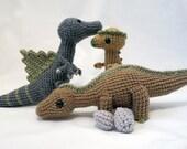 Dinosaur Crochet PATTERN BUNDLE 4 - Amigurumi DInosaurs Spinosaurus, Pachycephalosaurus,  Maiasaurus - amigurumi pattern dinosaur toy plush