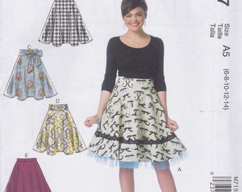 McCall's Pattern M7197 Cute & Easy Flared Skirts With Waistband and Trim Variations Misses' Sizes' 6 - 14