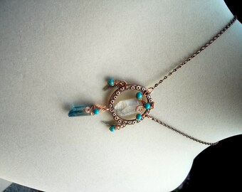 DreamCatcher Jewelry Pendant Necklace with Aqua Aura and Rutilated Crystal Points with Turquoise Beads