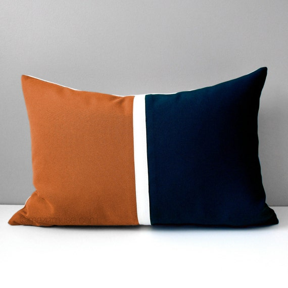 Nutmeg & Navy Blue Outdoor Pillow Cover Rust Brown