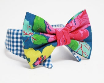 Shirt and bow tie dog collar- Floral bow tie and gingham -  wedding dog collar