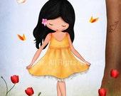 Spring Jolinne girls wall art, kids room decor, ballerina dancer,art for girls room, nursery decor girl, kids wall art, print illustration