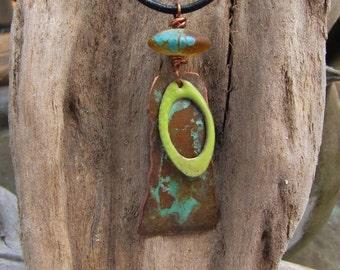 Bohemian Mermaid Copper Pendant Lampwork Bead