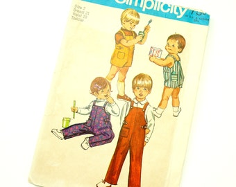 Vintage 1970s Childs Size 2 Overalls or Overall Shorts Simplicity Sewing Pattern 9044 Complete / chest 21 waist 20