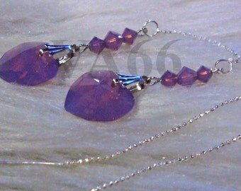 Cyclamen Opal Swarovski 6202 14mm Heart n Bicones Crystal Threader Earrings Colors Birthday Gift, Bridal Shower, Bridesmaids, Flowergirls