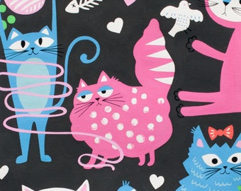 Whiskers Kitty Cat Fabric Alexander Henry Mischievous Cats Playful Kitties on Smoke Gray