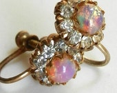1920s European antique earrings with wonderful Dragon's Breath opals and crystals - gold screw earrings, incredibly fascinating - Art.762 --