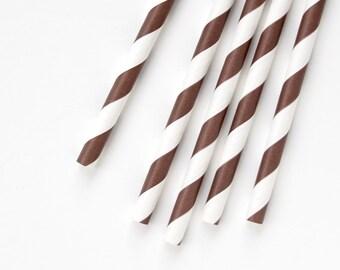100 Brown Striped Straws