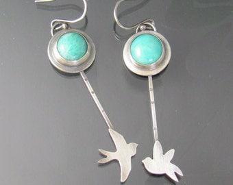 sterling silver swallow earrings - amazonite earrings - sterling silver earrings - bird earrings