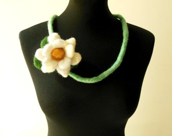 felt lotus flower necklace, statement necklace, eco friendly, strand necklace
