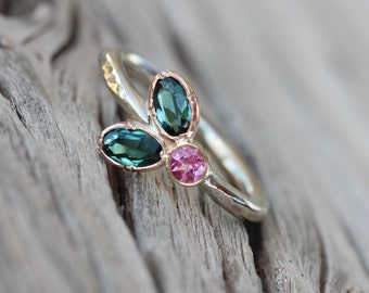 Floral Teal Pink Tourmaline Engagement Ring 14K Tri Gold Rose Yellow White Woodland Boho Bridal Romantic Flower Leaf Bloom - Triple Blossom